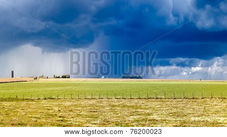 Heavy Storm Over A Prairie In England