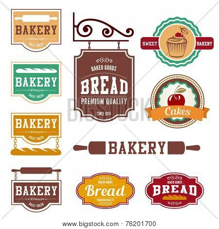 Bakery Vintage labels such as logo design vector templates. Fresh Bread shop creative retro concept icons.