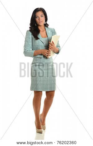 Portrait of young businesswoman holding folder isolated over white background