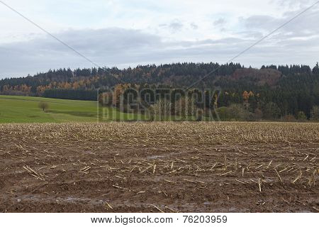 Agriculture - Harvested Field Into A Landscape