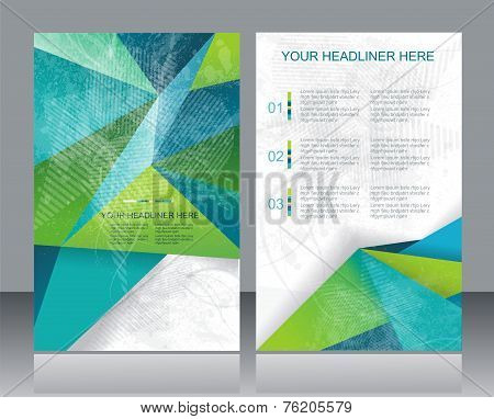 Brochure Or Flyer Design With Abstract Geometrical Background