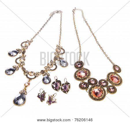 Necklace, Necklace On Background.