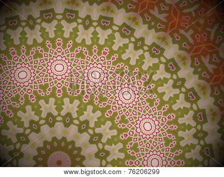 Radial red, white and green geometric pattern, artistic stylish backdrop