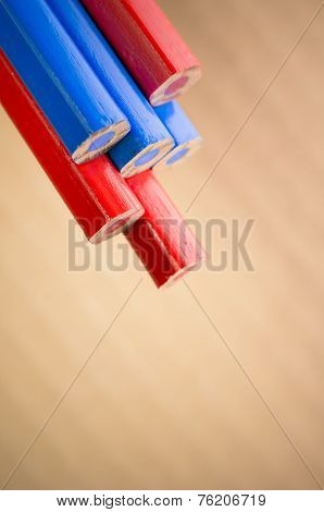 Red Blue Colored Crayons