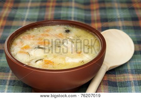 Chicken Soup With Vegetables And Sauce.