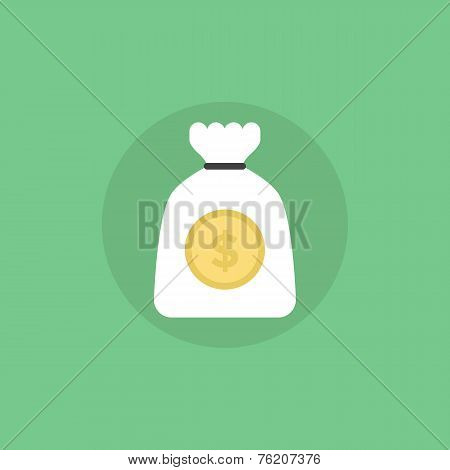 Bag Of Gold Flat Icon Illustration
