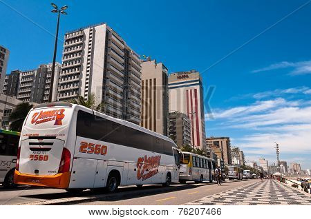 Busses in the street in Ipanema district, Rio de Janeiro