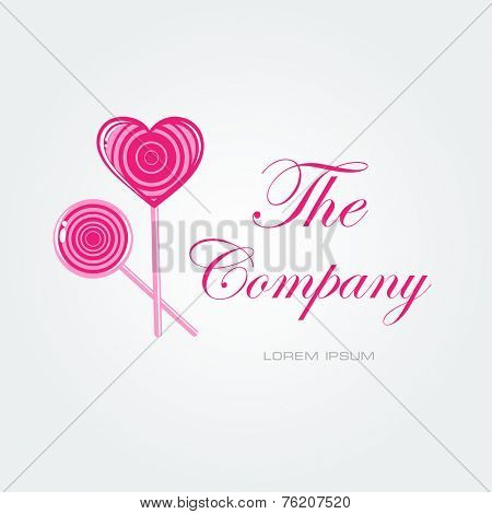 Vector card with lollipop candy and place for your company name. Logo sign for cafe, candy shop, buisiness card  or sweet brand
