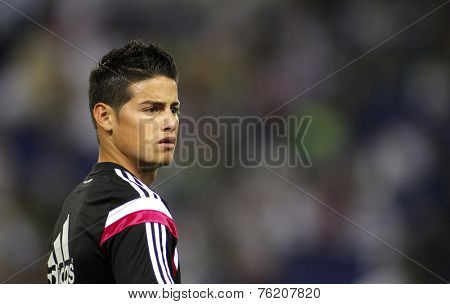 BARCELONA - OCT, 20: James Rodriguez of Real Madrid before the Spanish Kings Cup match against UE Cornella at the Estadi Cornella on October 29, 2014 in Barcelona, Spain