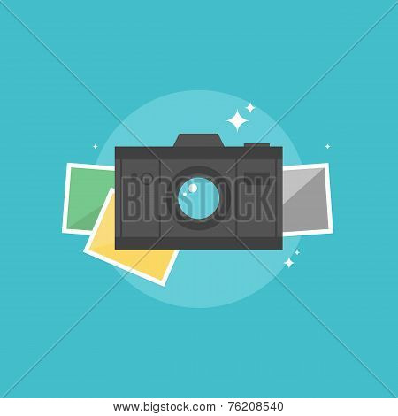 Digital Camera Flat Icon Illustration