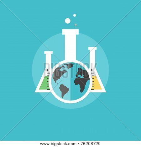 Global Chemistry Experiments Flat Icon Illustration