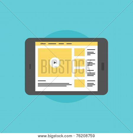 Online Video On Digital Tablet Flat Icon Illustration