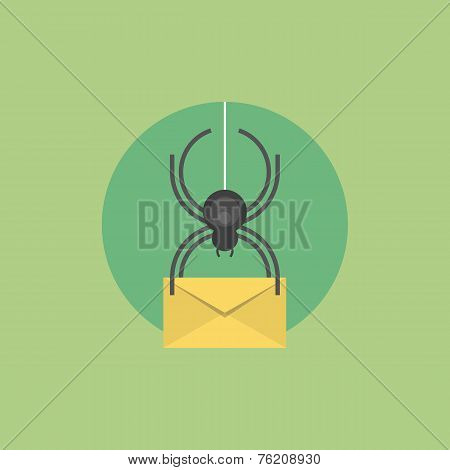 E-mail Virus Flat Icon Illustration