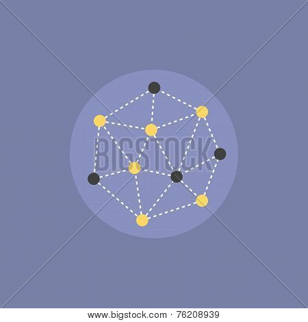 Abstract Network Connection Flat Icon Illustration