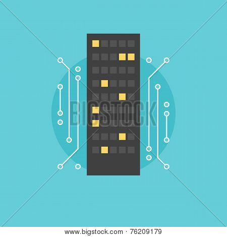 Digital City Flat Icon Illustration