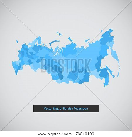 Mono color flat modern Russia map set.