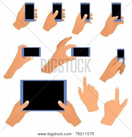 Collection of hands holding phone and tablet isolated on white background