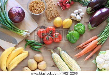Vegetables On A Table Top View