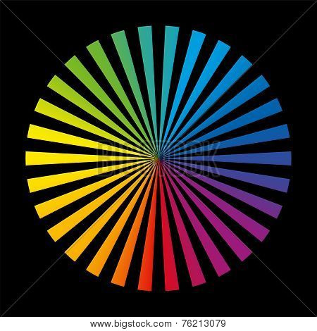 Rainbow Wheel Color Fields Black
