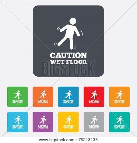 Caution wet floor icon. Human falling symbol.