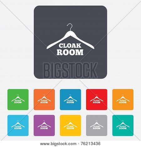 Cloakroom sign icon. Hanger wardrobe symbol.