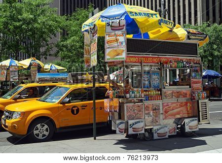 Hot Dog Cart in New York City