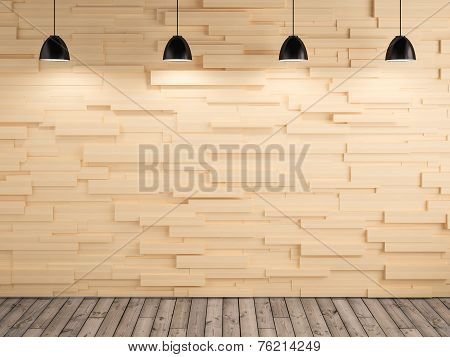 Lamp And Wood Wall And Floor Design Background