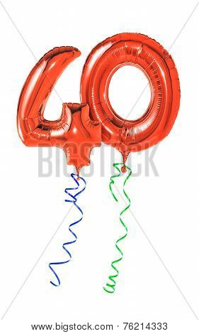 Red balloons with ribbon - Number 40