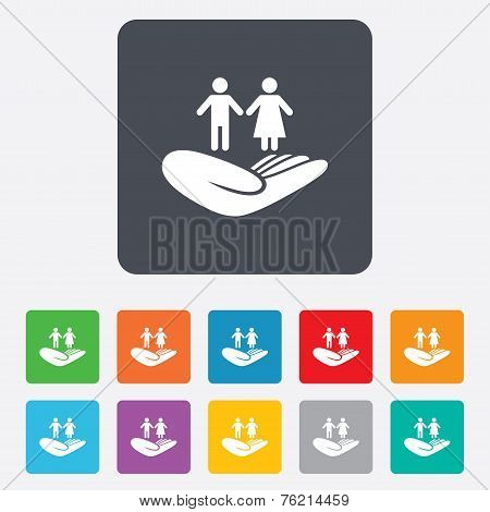 Couple insurance sign. Hand holds human group.