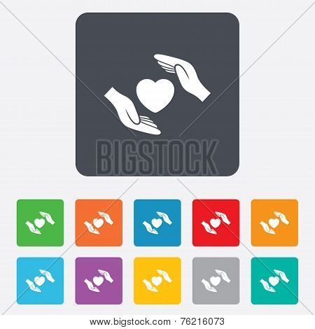 Life insurance sign icon. Hands protect cover.