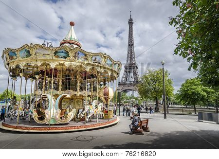 Parisian Carousel and Eiffel Tower