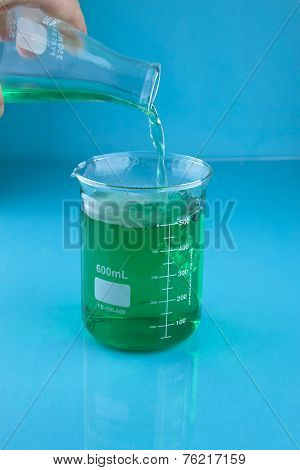 Pouring A Green Liquid