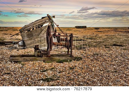 Beautiful view of the sea rocky beach with old winch, smashed a shed,H D R
