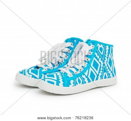 Pair Of New Blue Sneakers Isolated On White Background