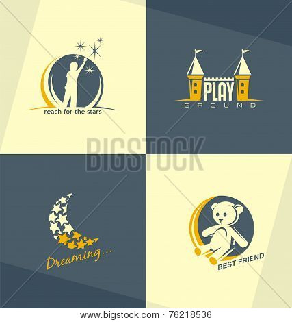 Unique and minimalistic kids logo design concepts