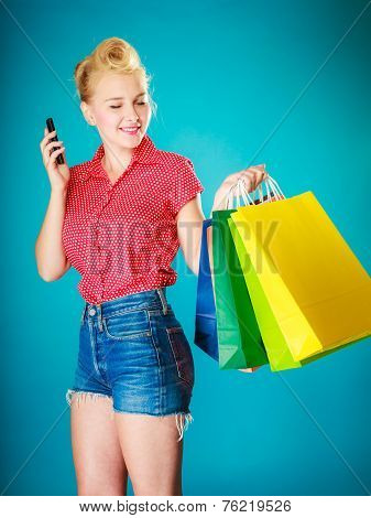Pinup Girl With Shopping Bags Mobile Phone