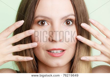 Girl Framing Her Face With Hands