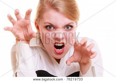 Angry Businesswoman Furious Woman Screaming