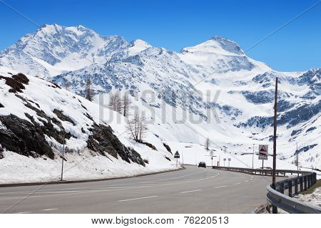 Mountain road in Swiss alps. Simplon Pass, Valais, Switzerland