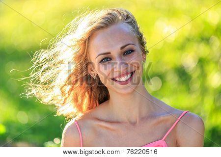 Close-up Portrait Of Beautiful Blonde Woman