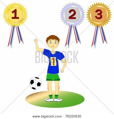 Set soccer player, athlete and medals