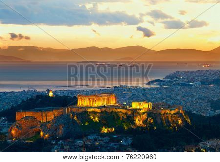 Athens, Greece. After sunset. Parthenon and Herodium construction in Acropolis Hill