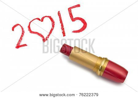 Lipstick and 2015 isolated on white background