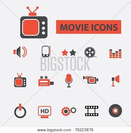 movie, cinema, player black icons, signs, illustrations set, vector