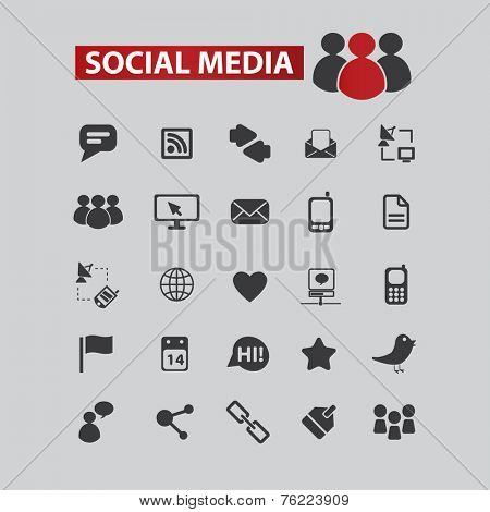 social media, community black icons, signs, illustrations set, vector