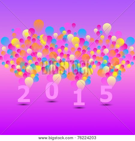 Created 2015 Card With Colorful Balloon