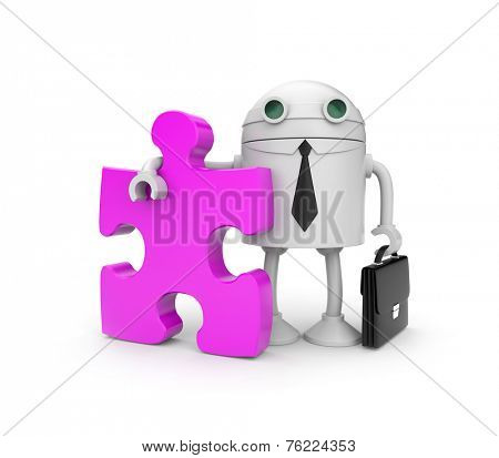 Robot businessman with puzzle