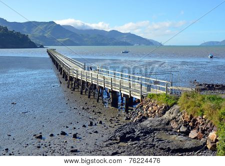 The Governors Bay Jetty At Low Tide