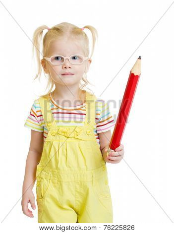 Funny kid in eyeglasses with red pencil isolated