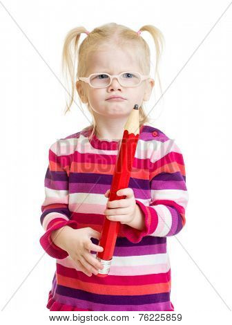 Funny kid in eyeglasses with red pencil isolated on white